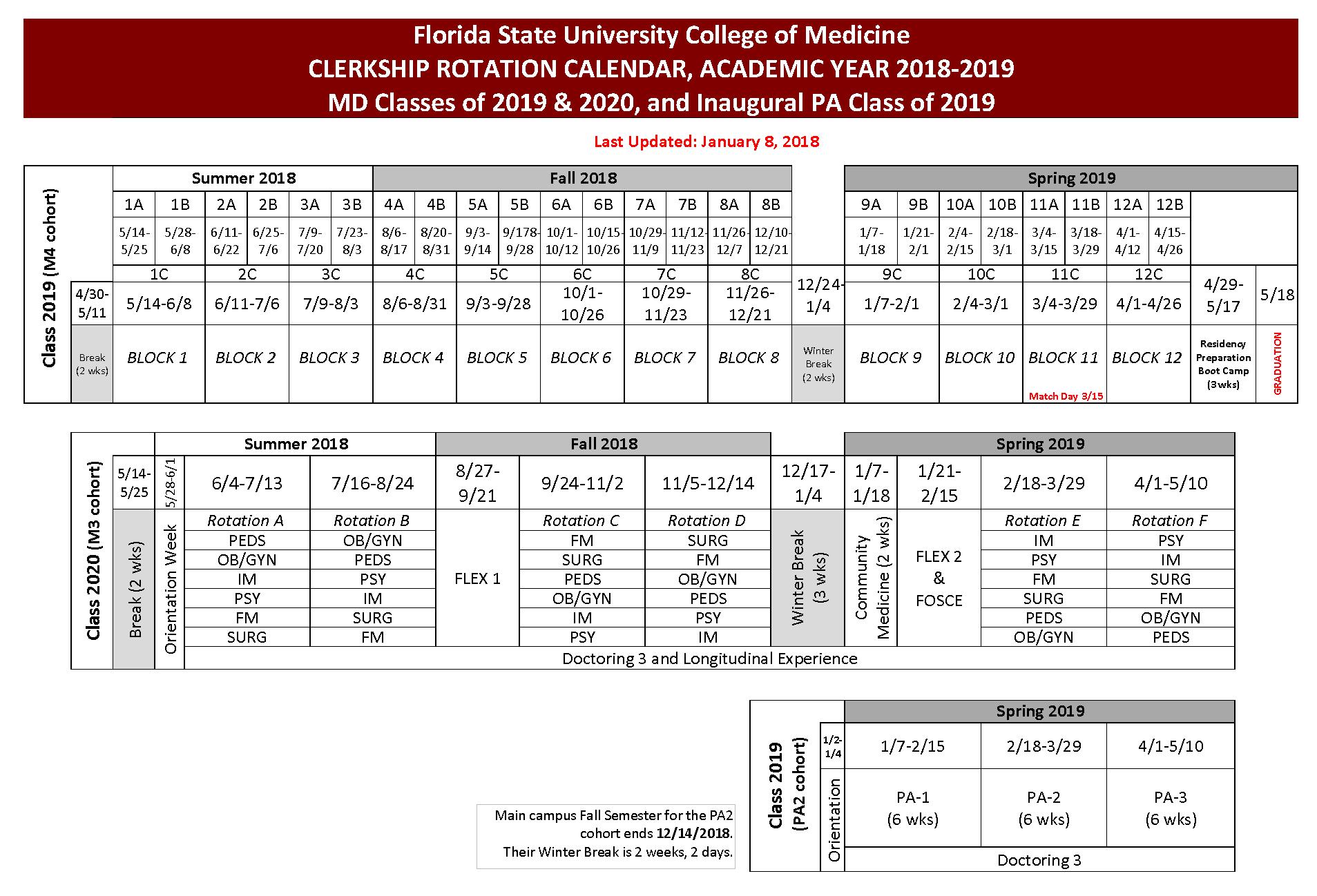 Fsu Calendar 2019 Academic Calendar for 2018 2019 | College of Medicine