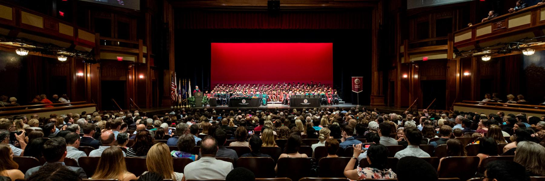 The Ruby Diamond stage was packed with garnet caps and gowns during graduation.