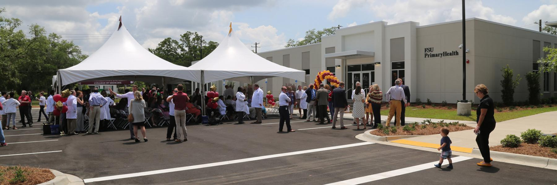 Tents provided shade at the ribbon-cutting at FSU PrimaryHealth