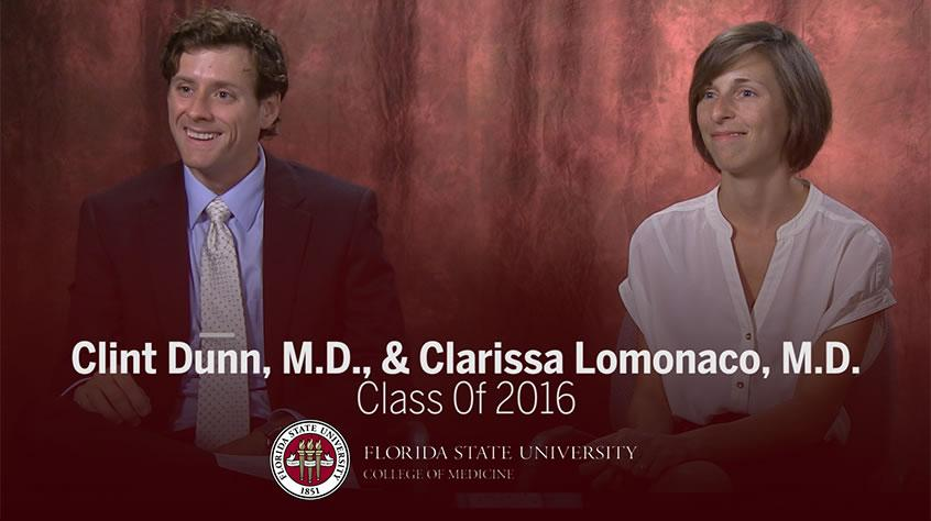 Clint Dunn, M.D., and Clarissa Lomonaco, M.D., Class of 2016