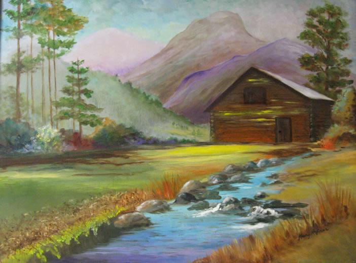 Cabin by the Stream by Mary Hafner
