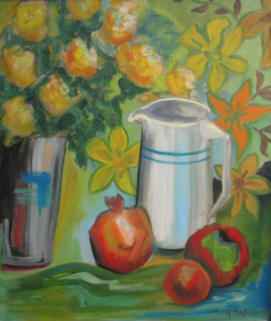 Pitcher and Pomegranate by Mary Hafner