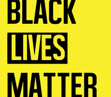 Black lives matter. Black lettering on a bright yellow background.