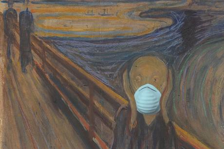 Illustration for The Tyee by Christopher Cheung. The Scream via Wikipedia, public domain; mask image via Wikipedia, public domain.